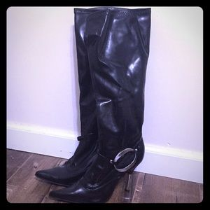 These are black leather boots